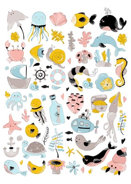 Vector enorme set - zeedier, plant, koraal, schattige personages Premium Vector