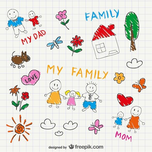 Vector familie schetstekening Gratis Vector