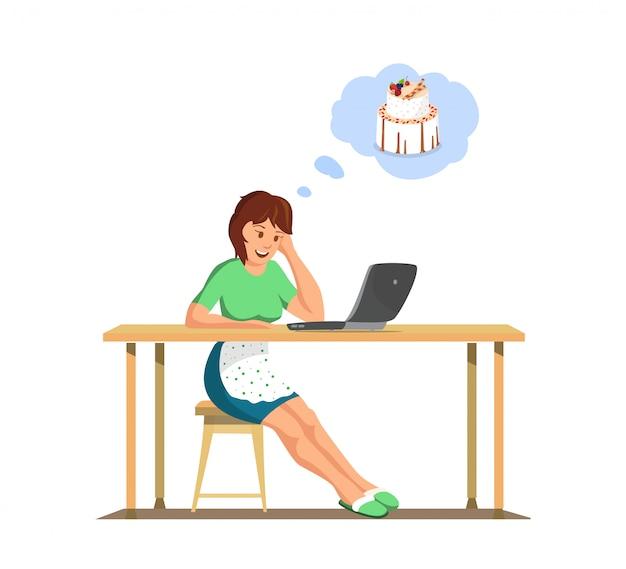 Vector flat housewife watch online cook courses. Premium Vector