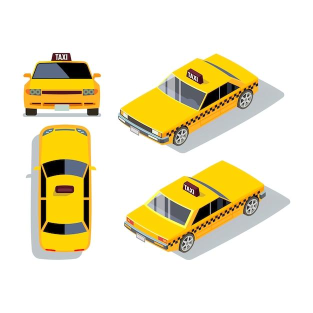 Vector flat-stijl taxiauto's in verschillende meningen. geel isometrisch taxivervoer en verkeersillustratie Premium Vector