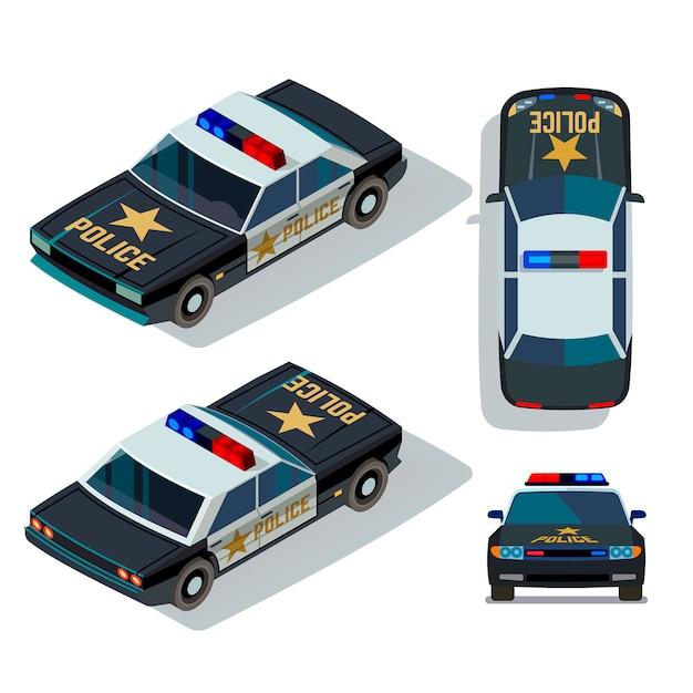 Vector flat-style auto's in verschillende weergaven. isometrische politietransport patrouille boven- en vooraanzicht illustratie Premium Vector