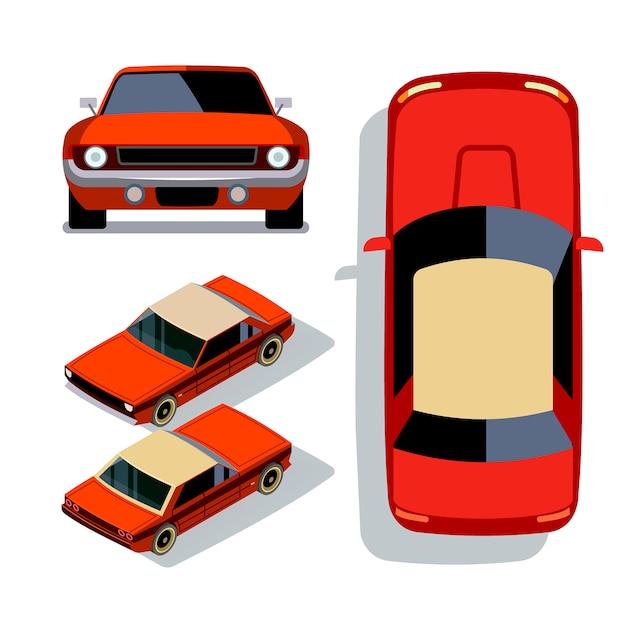 Vector flat-style auto's in verschillende weergaven. rode isometrische 3d de meningsillustratie van de spierauto sedan Premium Vector