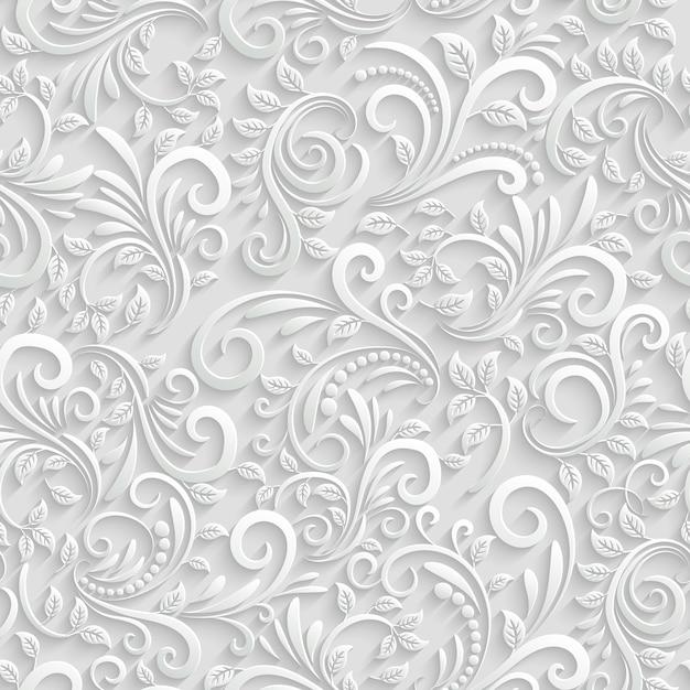 Vector floral 3d naadloze patroon achtergrond. voor decoratie van kerst- en uitnodigingskaarten Gratis Vector
