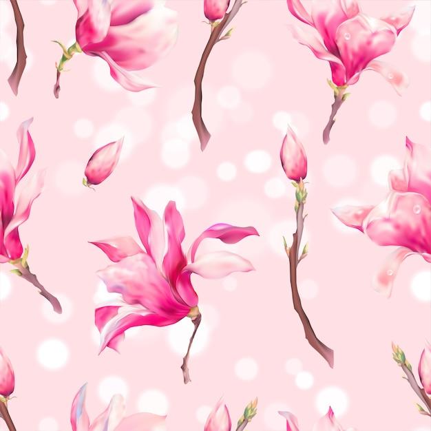 Vector floral voorjaar naadloze patroon Premium Vector