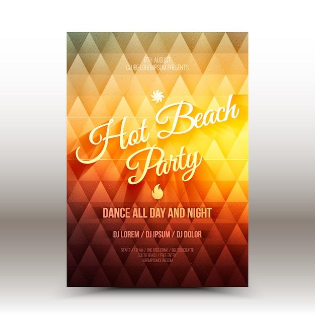 Vector flyer ontwerpsjabloon hot beach party Premium Vector