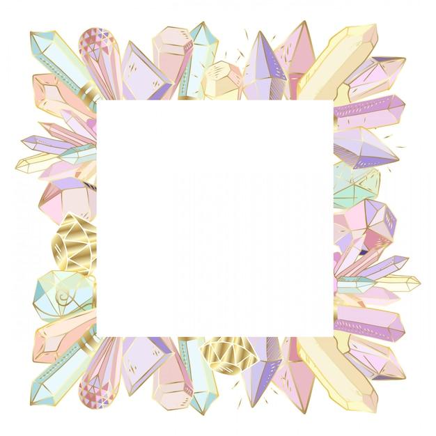 Vector frame, gemaakt van kristallen, edelstenen Premium Vector