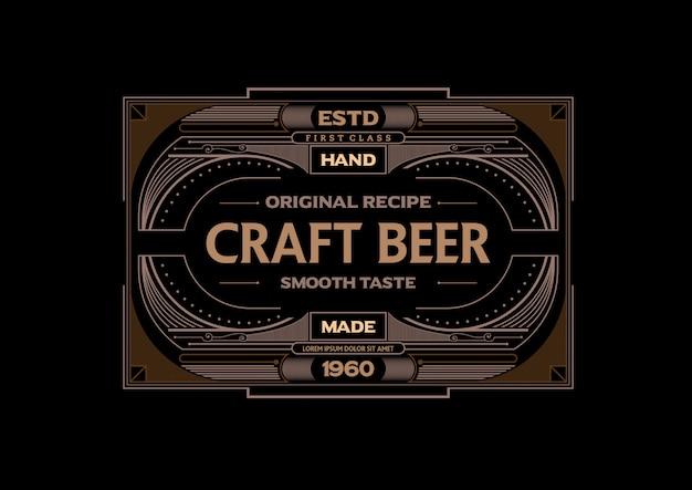 Vector frame vintage ambachtelijke bier ontwerpsjabloon Premium Vector
