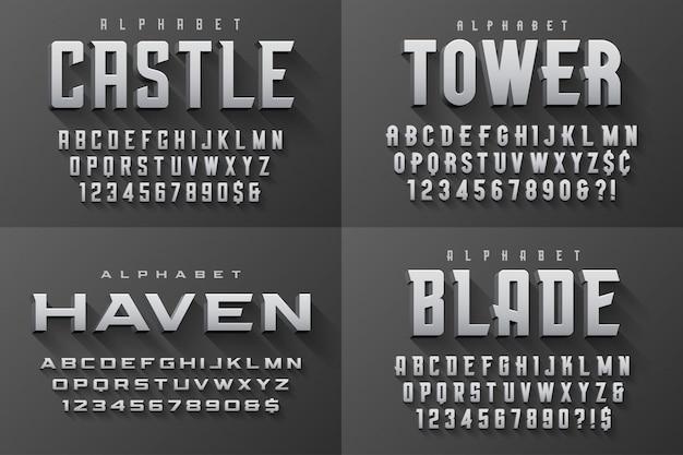 Vector gecondenseerde originele weergave set lettertypen ontwerp, alfabet Premium Vector