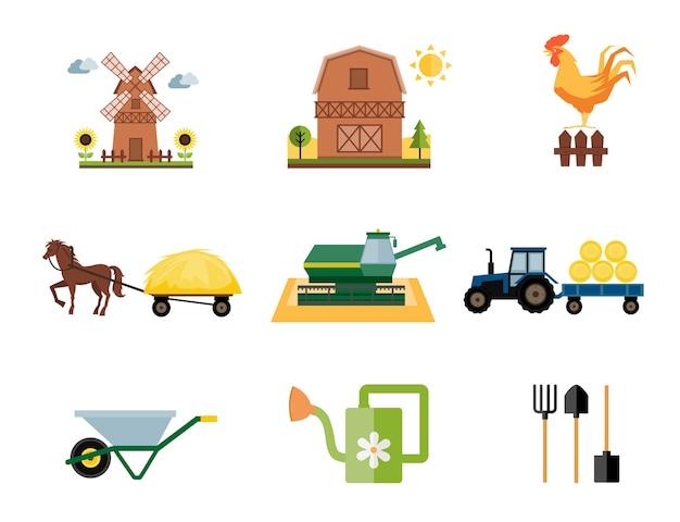 Vector gekleurde boerderij en landbouw pictogrammen in vlakke stijl Gratis Vector