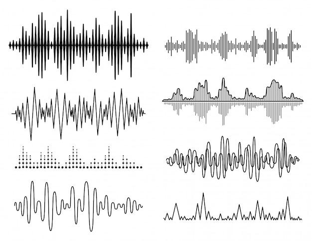 Vector geluidsgolven instellen Premium Vector