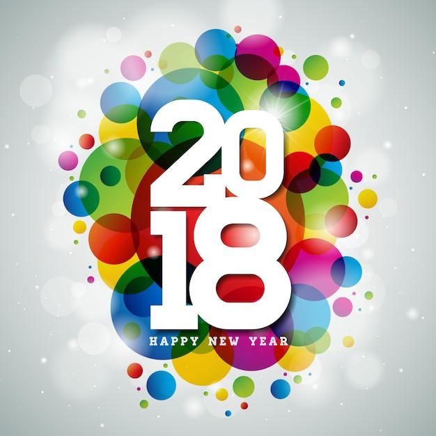 Vector gelukkig nieuwjaar 2018 illustratie op glanzende kleurrijke achtergrond met typografie design Premium Vector