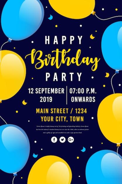 Vector gelukkige verjaardag partij poster Premium Vector
