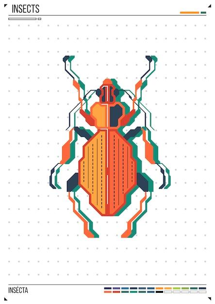 Vector geometrische bug of kever. insect op posterachtergrond Premium Vector