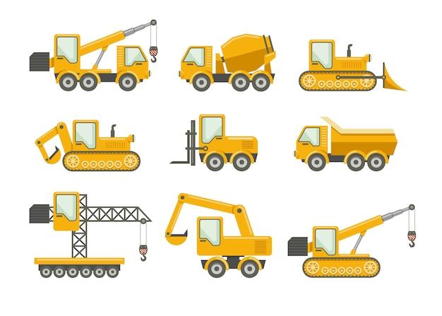Vector geplaatste bouwpictogrammen. bulldozer en machines, vrachtwagenlading en kraan, graafmachine en mixer Gratis Vector