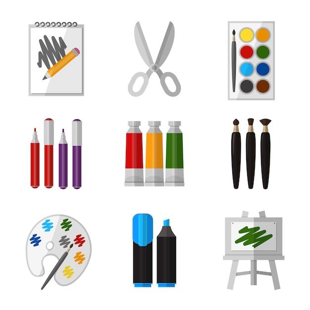 Vector gereedschapsset voor kunstenaar in platte ontwerpstijl. gouache en schaar, marker en palet en penseel illustratie Gratis Vector