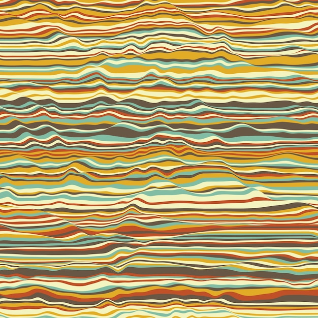 Vector gestreepte achtergrond. abstracte kleurengolven. trilling van geluidsgolven. funky gekrulde lijnen. elegante golvende textuur. vervorming van het oppervlak. kleurrijke achtergrond. Gratis Vector