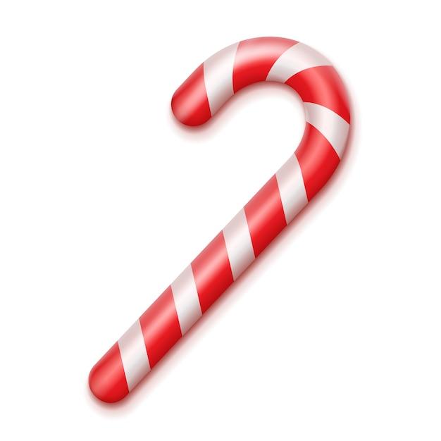 Vector gestreepte rode en witte kerst candy cane close-up bovenaanzicht geïsoleerd op de achtergrond Gratis Vector