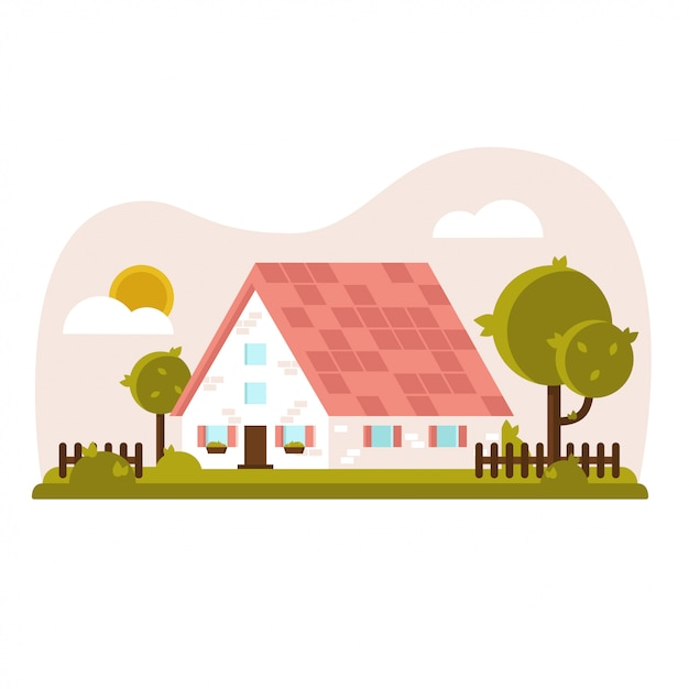 Vector gezellig huis met groene tuin en gazon Premium Vector