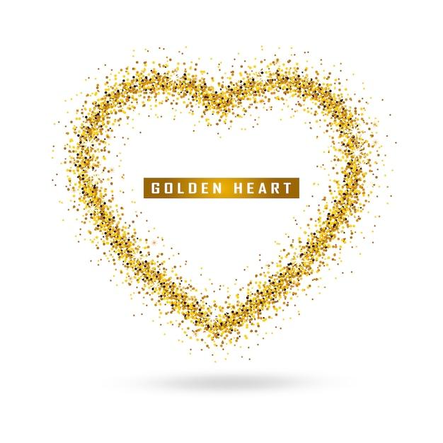 Vector gouden hart op transparant Premium Vector