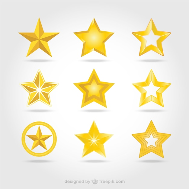 Vector gouden sterren iconen Gratis Vector