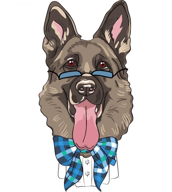 Vector grappige cartoon hipster hond duitse herder Premium Vector