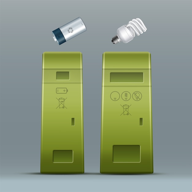 Vector groene batterij, energiebesparende lamp prullenbakken voor afval sorteren vooraanzicht Gratis Vector