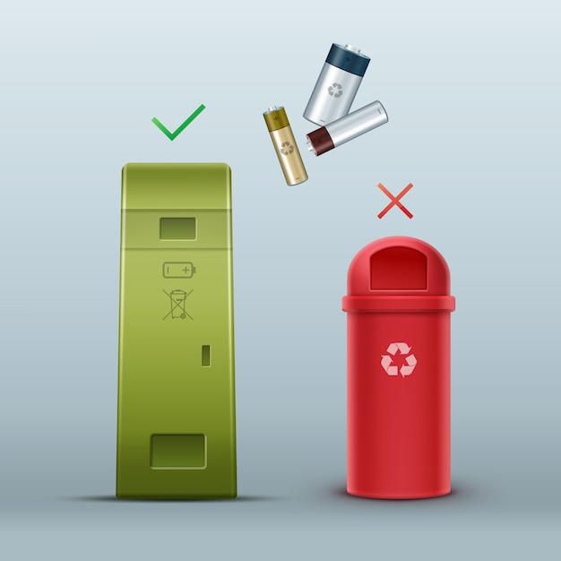 Vector groene batterij prullenbak voor het sorteren van afval vooraanzicht Gratis Vector
