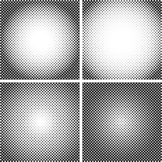 Vector halftone dot textures set Premium Vector