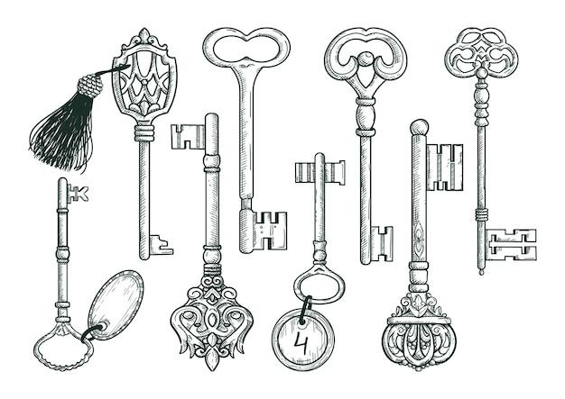 Vector hand getekend antieke sleutels. Premium Vector