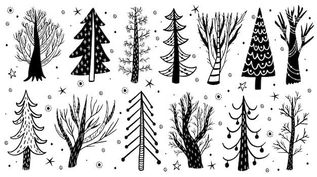 Vector hand getekend bos boom winter set. elementen grenen, vuren, boom. Premium Vector