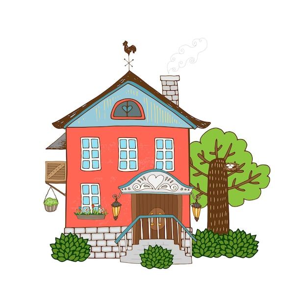Vector hand getekend pictogram huis Gratis Vector