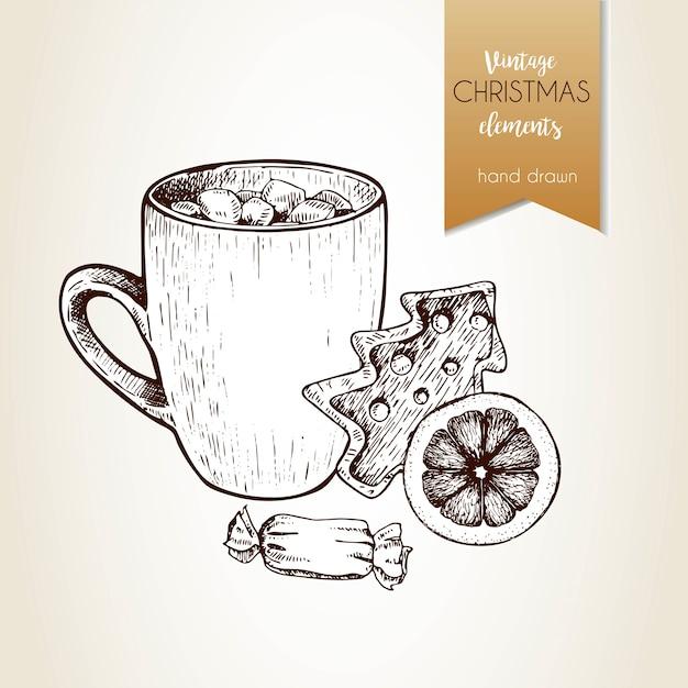 Vector hand getrokken illustartion van cacaokop, peperkoekkoekje, oranje plak en suikergoed. kerst decoratie. Premium Vector