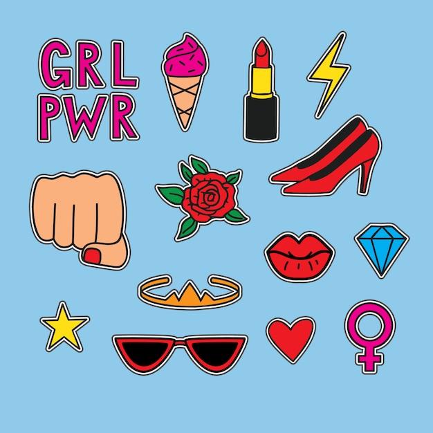 Vector hand getrokken set stickers over vrouwen macht. grappige illustratie Premium Vector