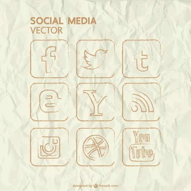 Vector hand getrokken sociale media iconen Gratis Vector