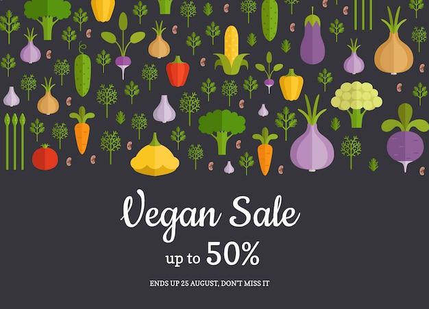 Vector handdrawn groenten en fruit horizontale verkoop achtergrond. veganistische banner plantaardige verkoop illustratie Premium Vector