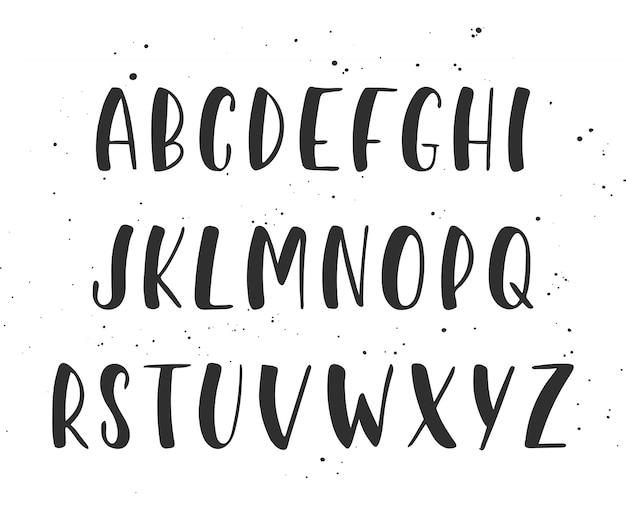 Vector handgeschreven penseel script. engelse alfabet. Premium Vector
