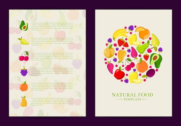 Vector handgetekende fruit en groenten kaart, brochure, flyer-sjabloon. poster en banner illustratie Premium Vector