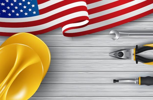 Vector happy dag van de arbeid-kaart. nationale amerikaanse vakantieillustratie met de vlag van de vs Premium Vector