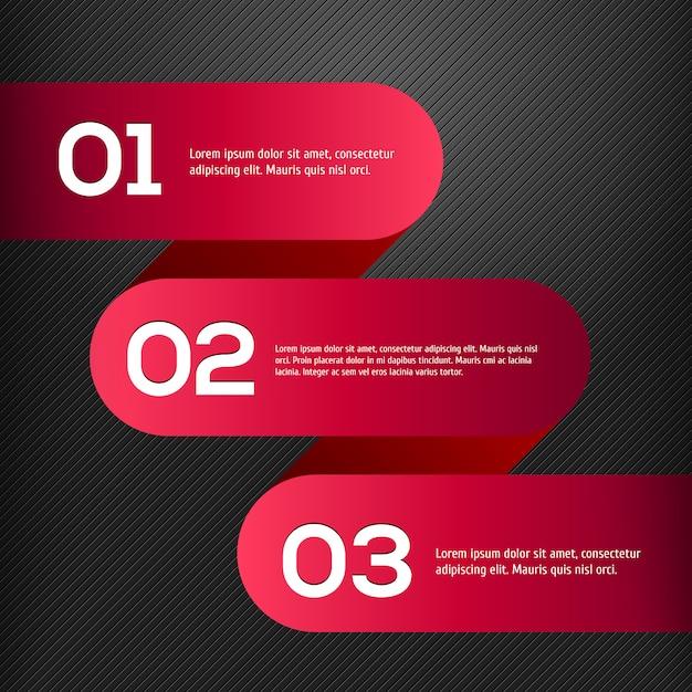 Vector heldere 3d rode geplaatste banners Premium Vector