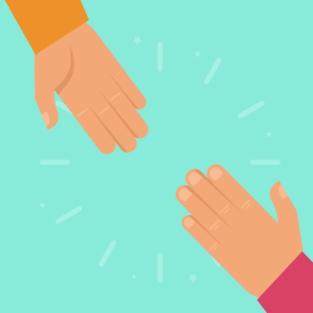 Vector helpende handen in vlakke stijl Premium Vector