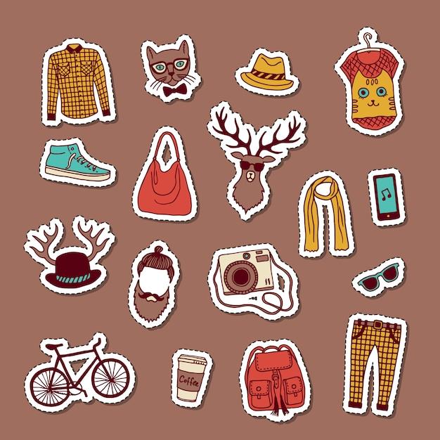 Vector hipster doodle stickers set Premium Vector