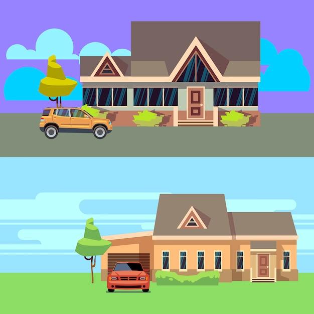 Vector horizontale achtergrond die met huizen met auto's wordt geplaatst. thuis met auto, cottage woonwijk en garage Premium Vector