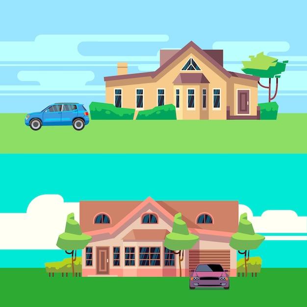 Vector horizontale illustraties van huizen met auto's. platte vectorillustratie auto- en bouwarchitectuur, automobiel en cottage Premium Vector
