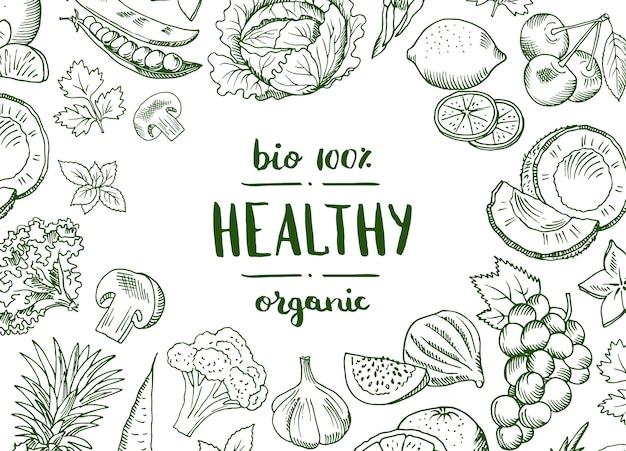 Vector horizontale krabbel handdrawn vruchten en groenten veganist, gezonde voedselbanner en affiche met achtergrondgroentenillustratie Premium Vector