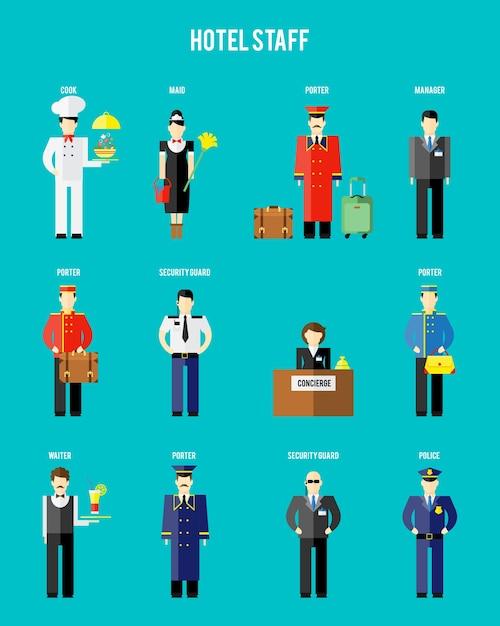 Vector hotelpersoneel. bewaker en politie, receptioniste en conciërge, portier en ober Gratis Vector