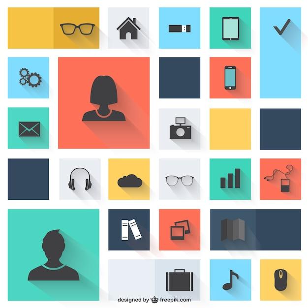 Vector iconen platte ontwerp Gratis Vector
