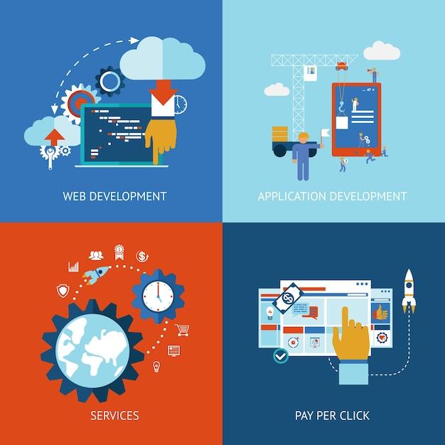 Vector iconen van web- en applicatie-apps ontwikkelingsconcepten in vlakke stijl Gratis Vector