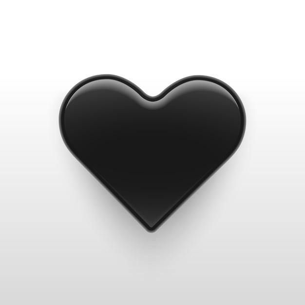 Vector illustratie, 3d zwart glanzend hart Premium Vector