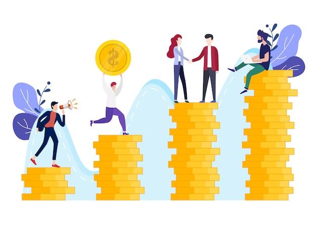 Vector illustratie beleggingsbeheer bedrijf Premium Vector