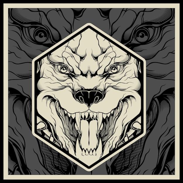 Vector illustratie boos pitbull mascotte hoofd Premium Vector